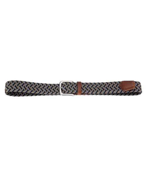 Navy/Slate Rounded Square Silver Buckle Braided Belt w Leather Tip
