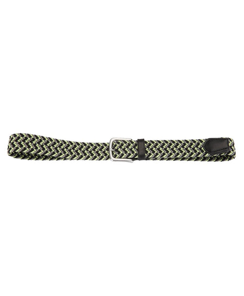 Black/Lime Rounded Square Silver Buckle Braided Belt w Leather Tip
