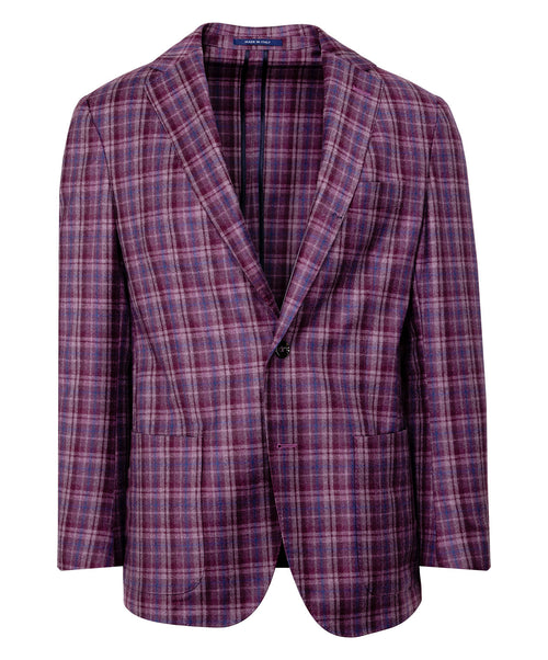 Merlot/Blue/Mauve Blended Check Jacket