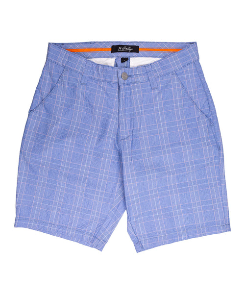 Arizona Blue Checked Seer Sucker Contemporary Short Shorts