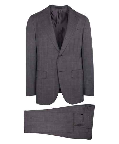 Grey/Blue Tonal Fine Check Suit