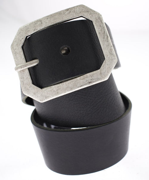 Black Wide Vintage Brushed Metal Buckle Belt