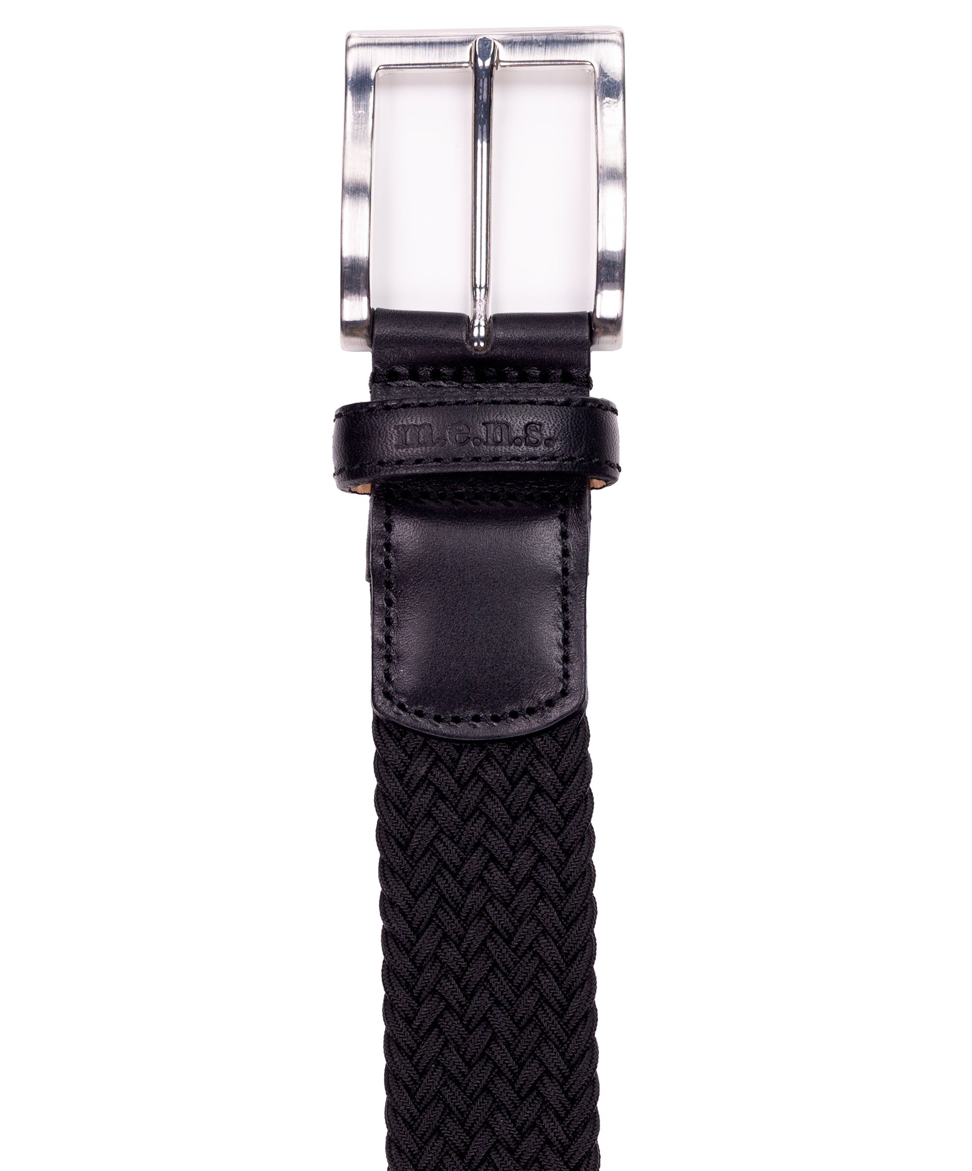 Basalt 010 Black w Square Metal Buckle & Leather Tip Braided Belt