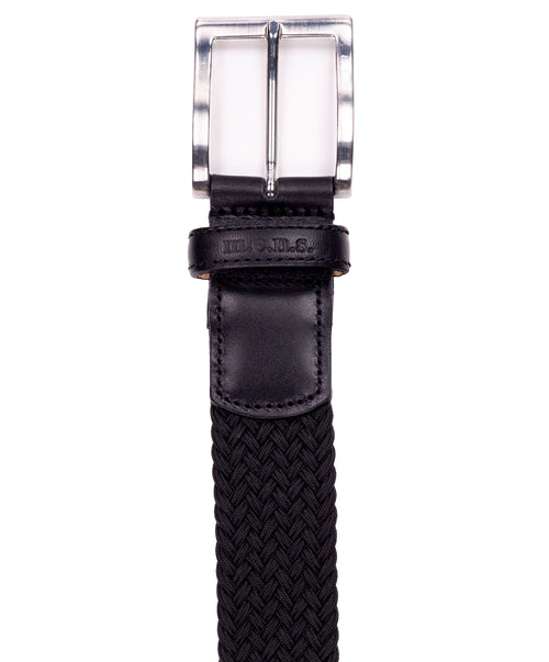 Basalt Black w Square Metal Buckle & Leather Tip Braided Belt