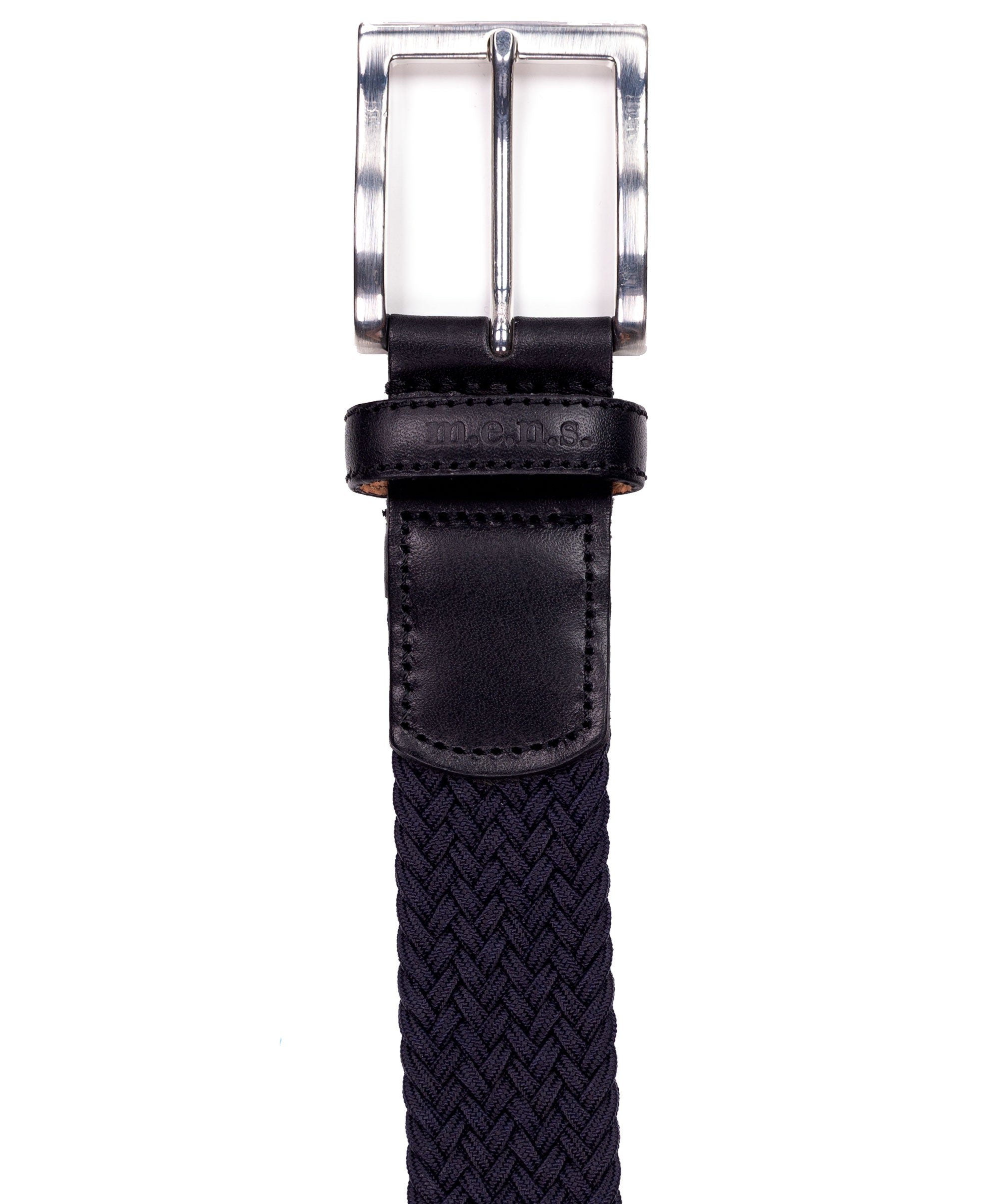 Basalt Navy w Square Metal Buckle & Leather Tip Braided Belt