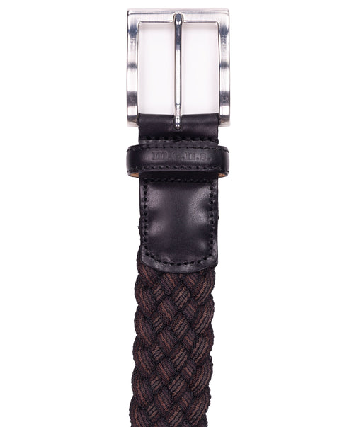 Basalt Coffee/Oak Bi-Color Braided Belt w Leather Details Belt