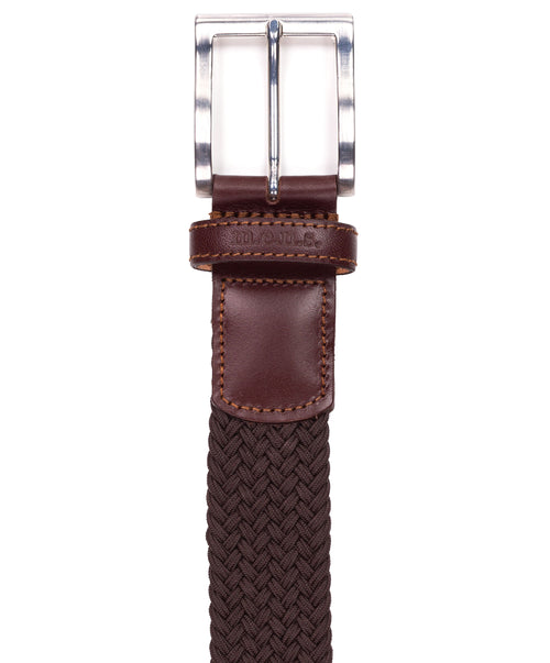 Basalt Brown w Square Metal Buckle & Leather Tip Braided Belt