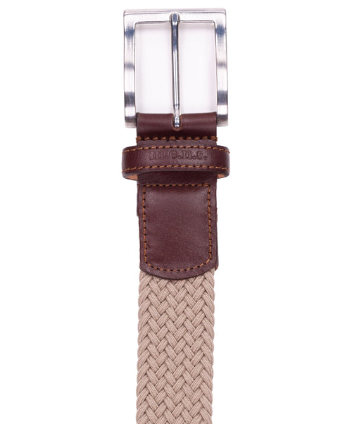 Basalt Beige w Square Metal Buckle & Leather Tip Braided Belt