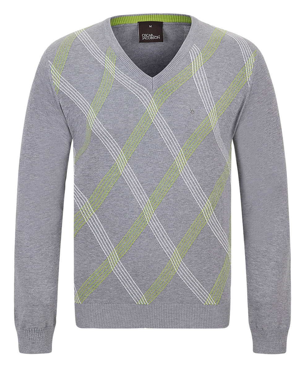 Benno Pin Grey w White/Lime Stylized Argyle Pattern V-Neck Sweater
