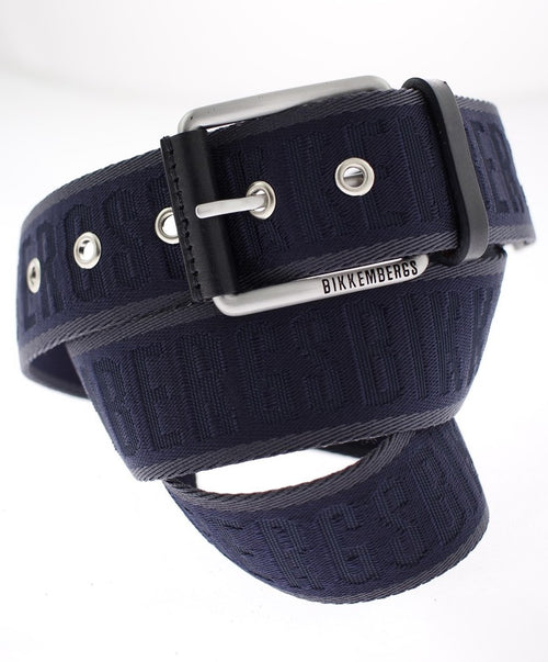 Midnight Canvas Belt w Metal Eyelets Square Silver Buckle
