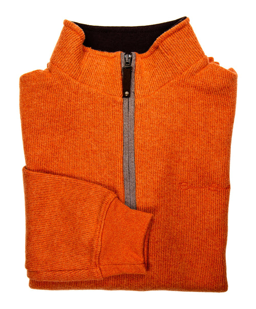 90120A 20525 Burnt Orange 3/4 Zip Mock Cashmere Touch