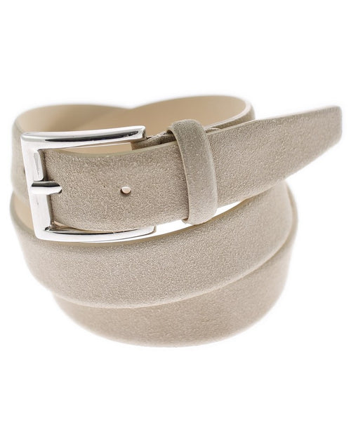 Cream Grainy Rounded Square Buckle Bevelled Tip Belt