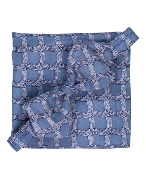 Blue Basket Weave Pre-Tied Bowtie & Pocket Square