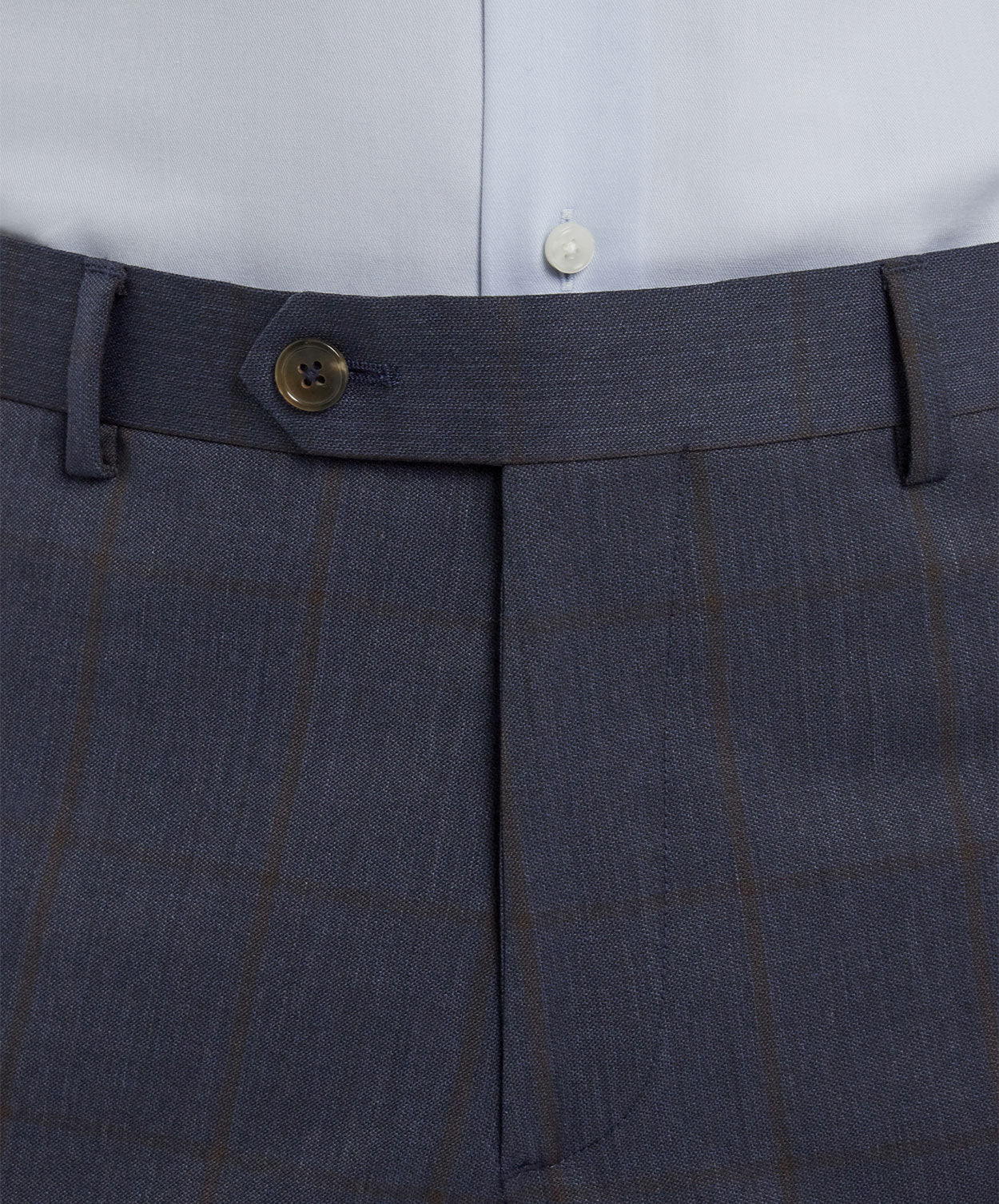 Buck Split Char Blue/Cognac Wide Faded Chalk Stripe Separates Pant