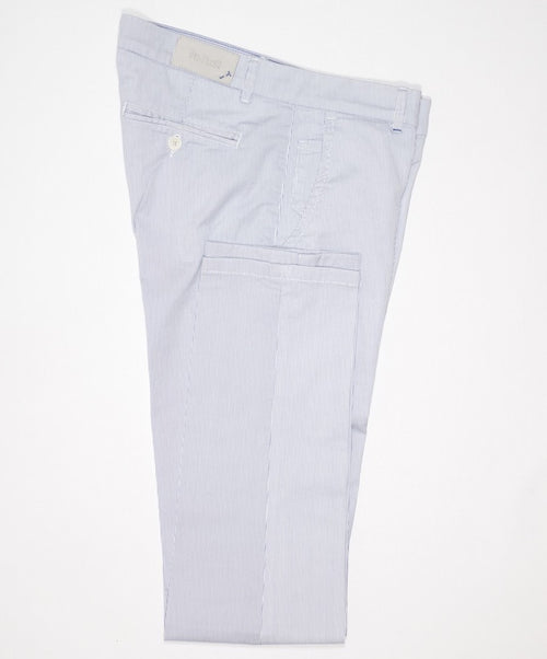 "White/Light Blue Fine Striped ""Seersucker Effect"" Stretch Leisure Pants"