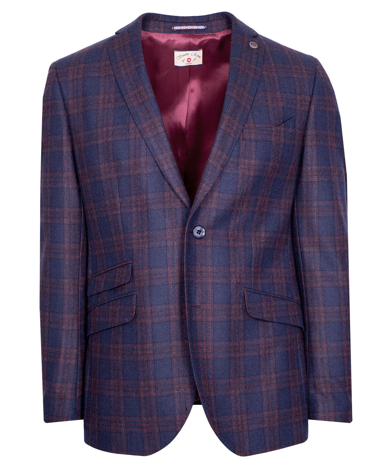 Charles Navy/Cognac Bold Milled Check Sport Jacket