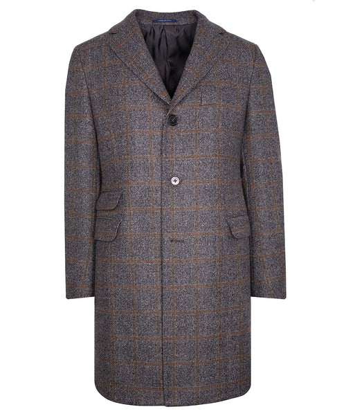 Grey/Camel Milled Windowpane Top Coat