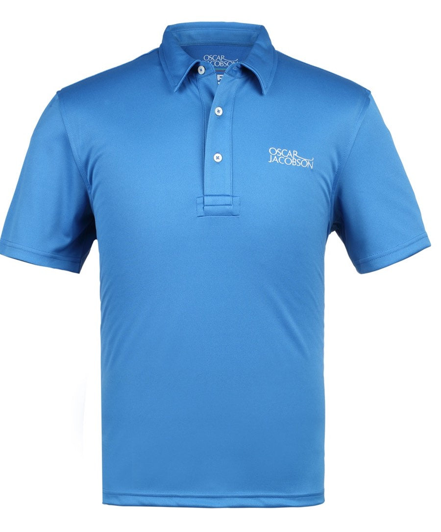 "Collin Tour Sky Blue  Solid w ""Oscar Jacobson"" on Chest Polo Shirt"
