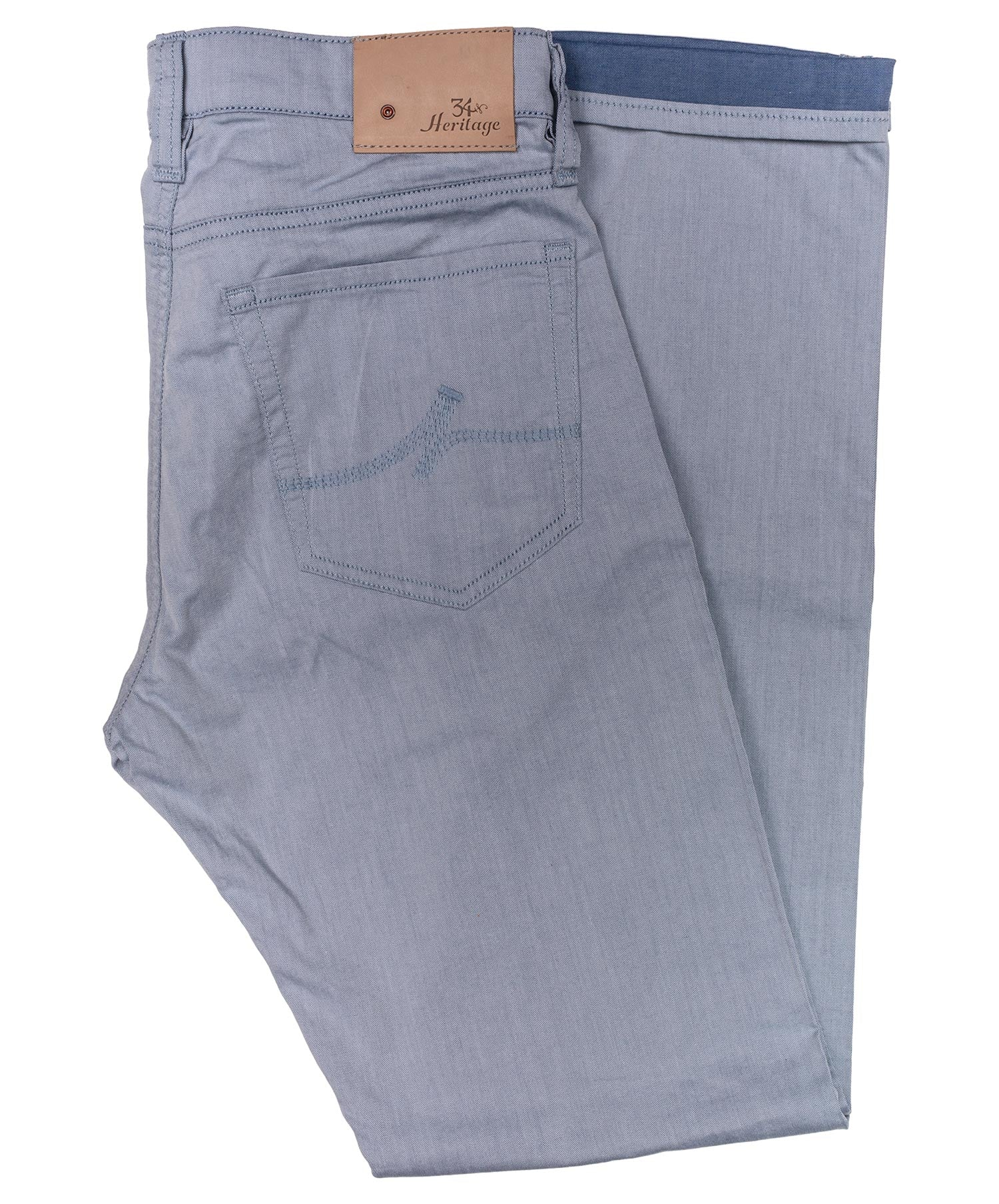 Courage Blue Herringbone Reversed Leisure Pant