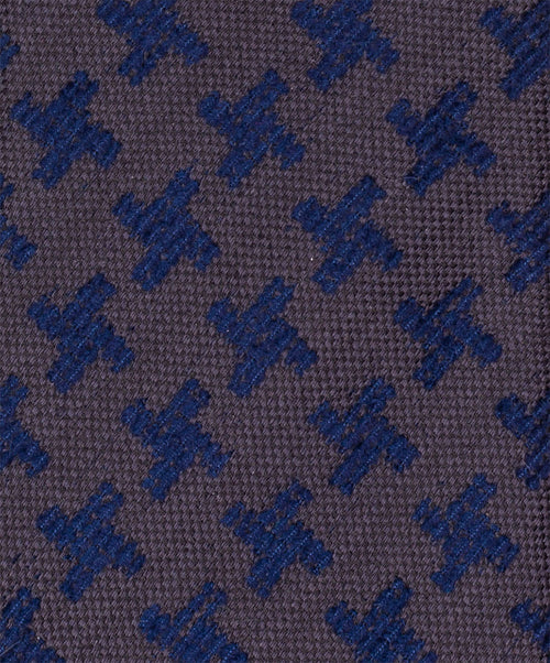 7.0cm Cocoa/Royal Houndstooth Dark Ground Woven Tie