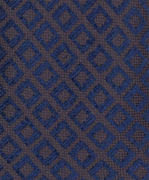 7.0cm Cocoa/Royal Diamond Square Dark Ground Woven Tie