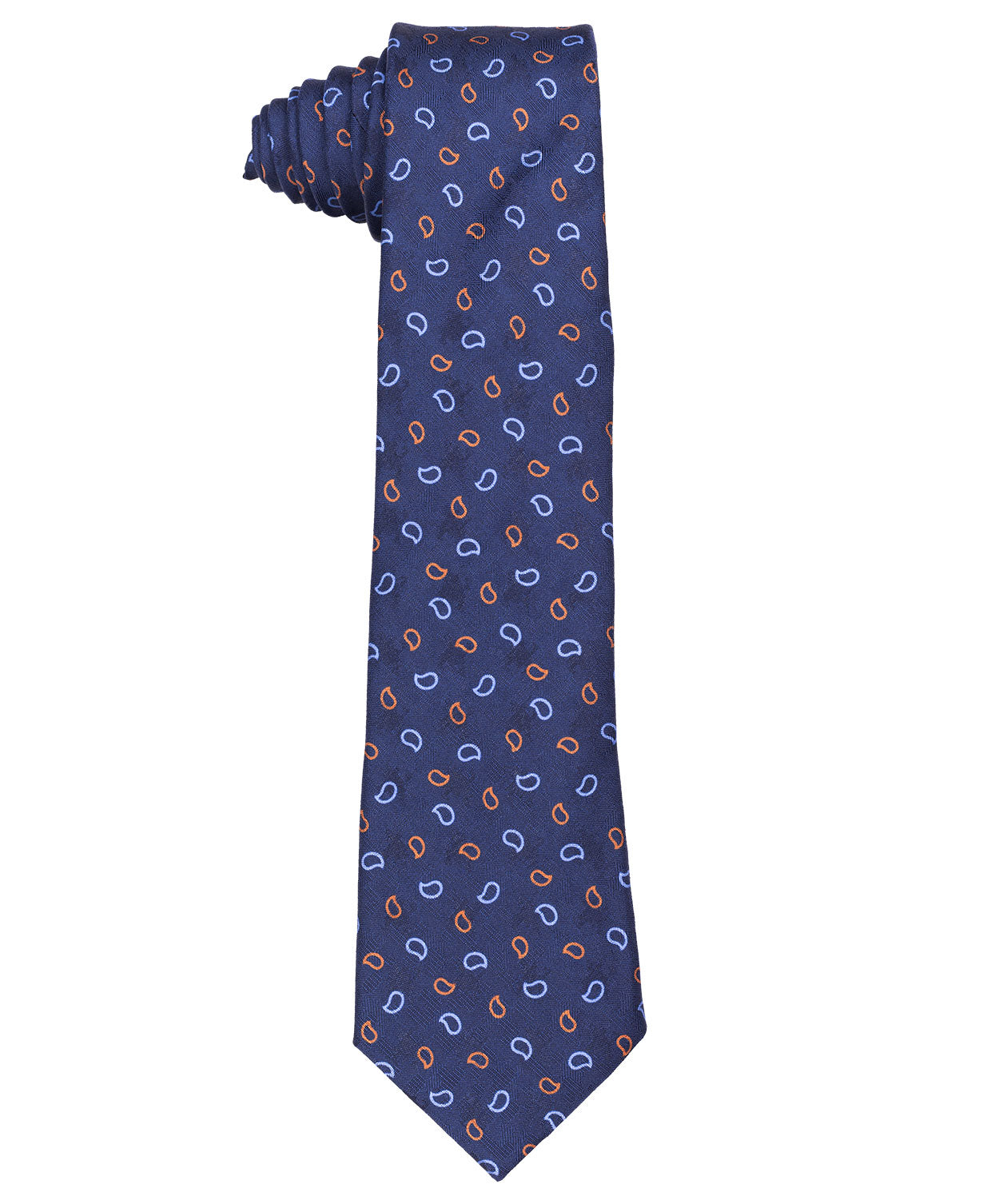 8.0cm Royal Blue/Sky/Cognac Small Clean Paisely Jacquard Tie