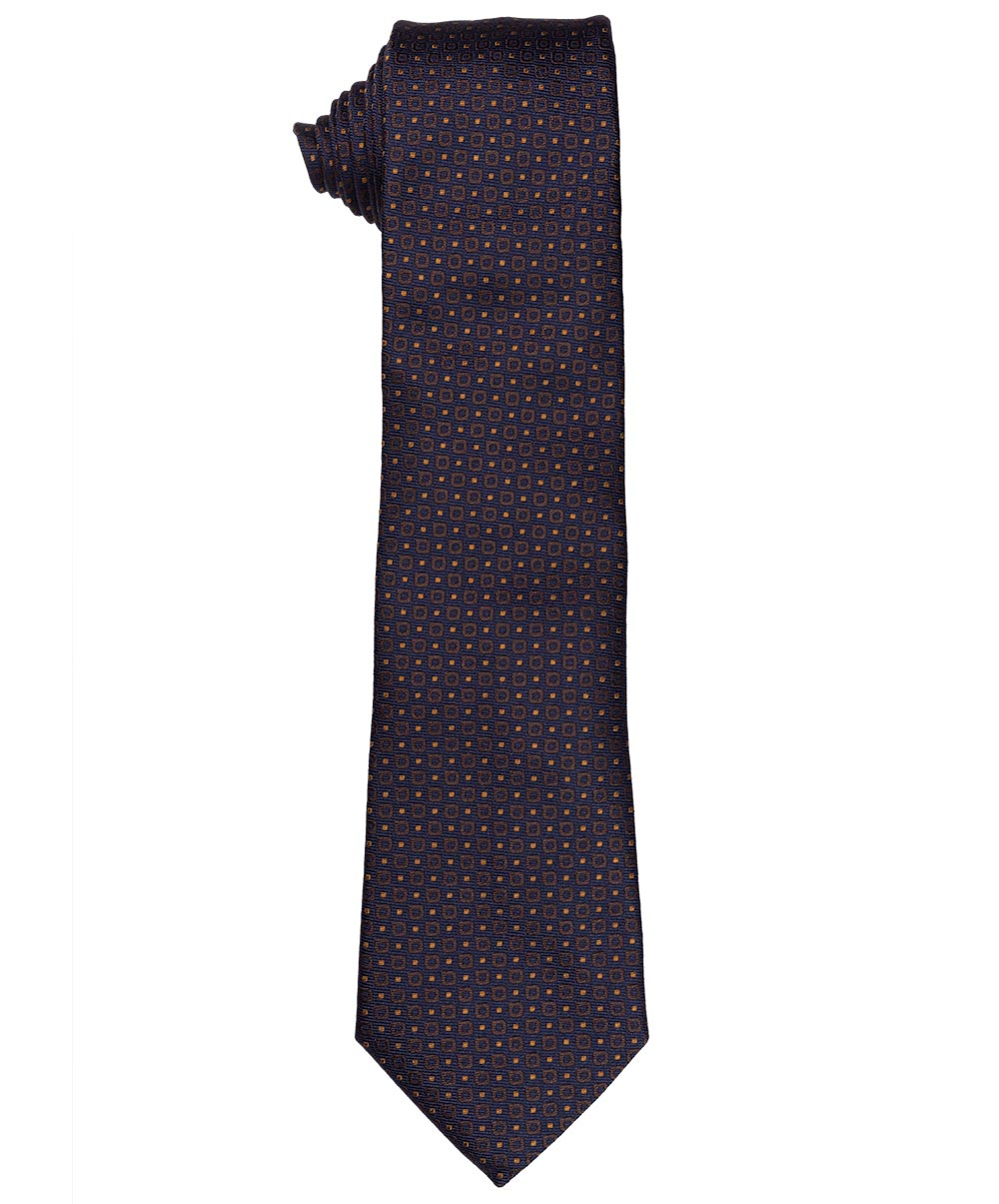 8.0cm Navy/Cognac Pindot on Textured Ground Jacquard Tie
