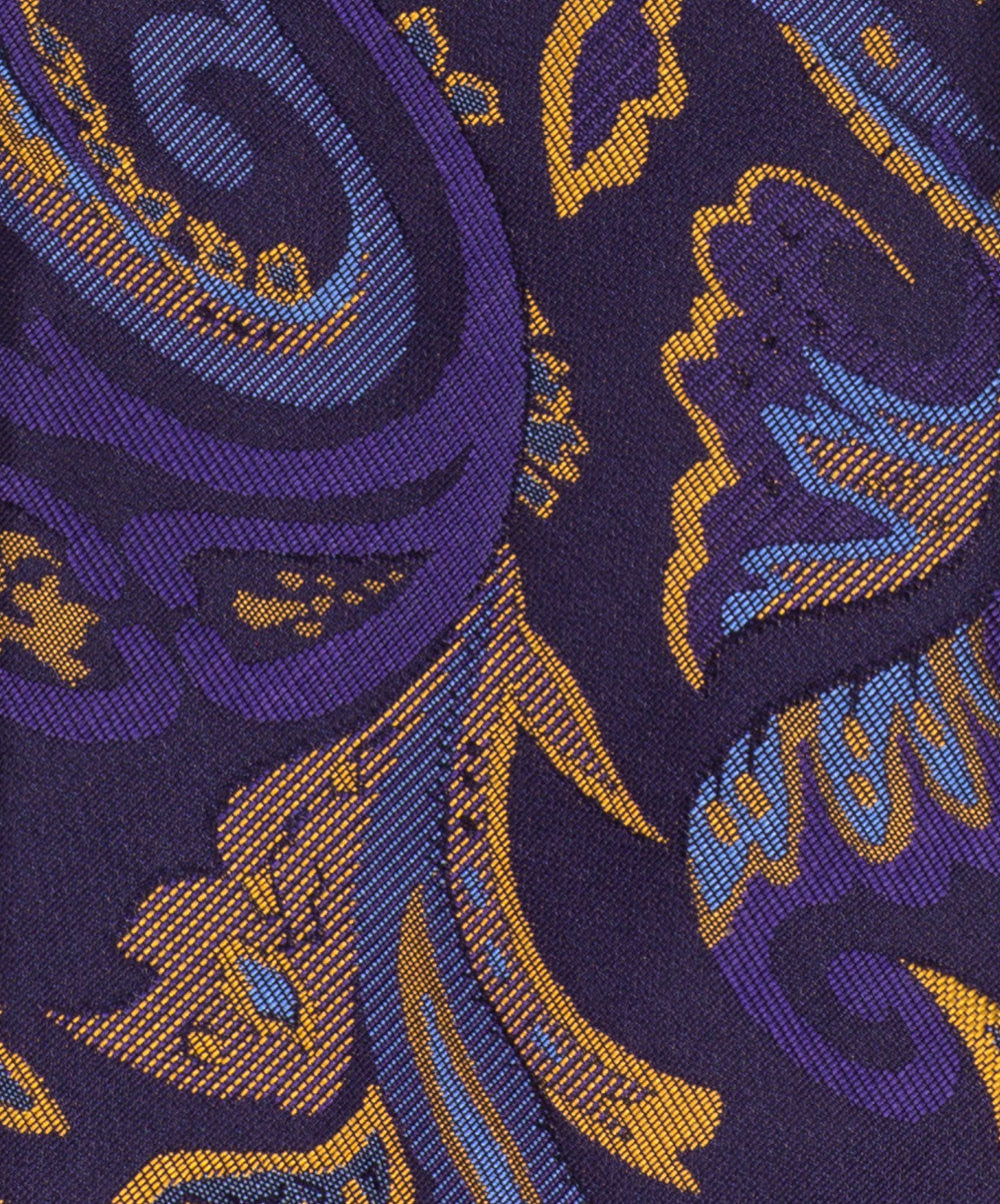 8.0cm Violet/Camel/Sky/Navy Bold Woven Paisely Abstract Tie