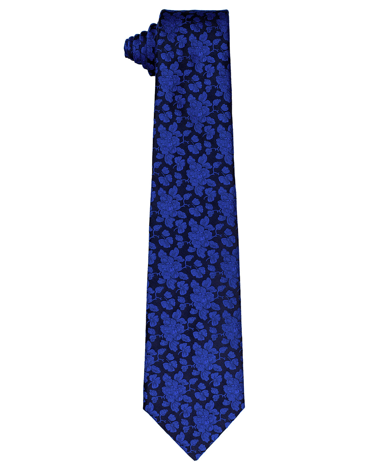 8.0cm Navy/Electric Blue Leaf Tie