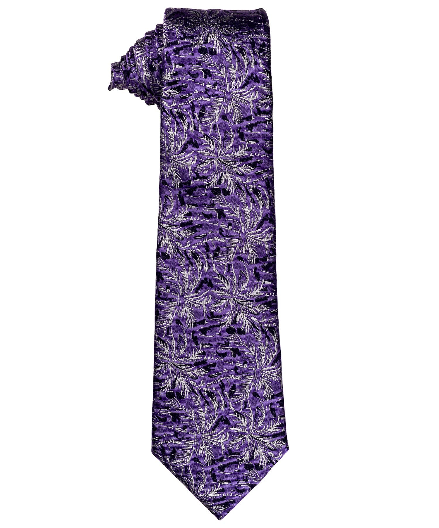 8.0cm Purple/Mauve/Pearl Abstracted Floral Woven Tie