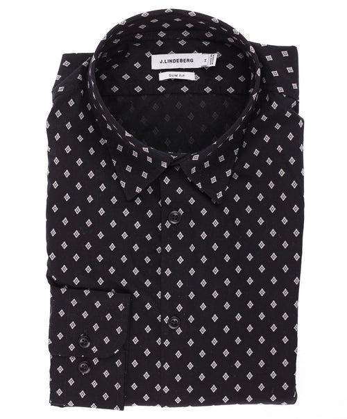 Black/White Small Neat Diamond Shapes Sport Shirt
