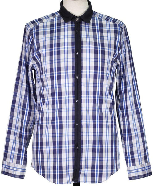 Navy/Grey Check Pattern Sport Shirt