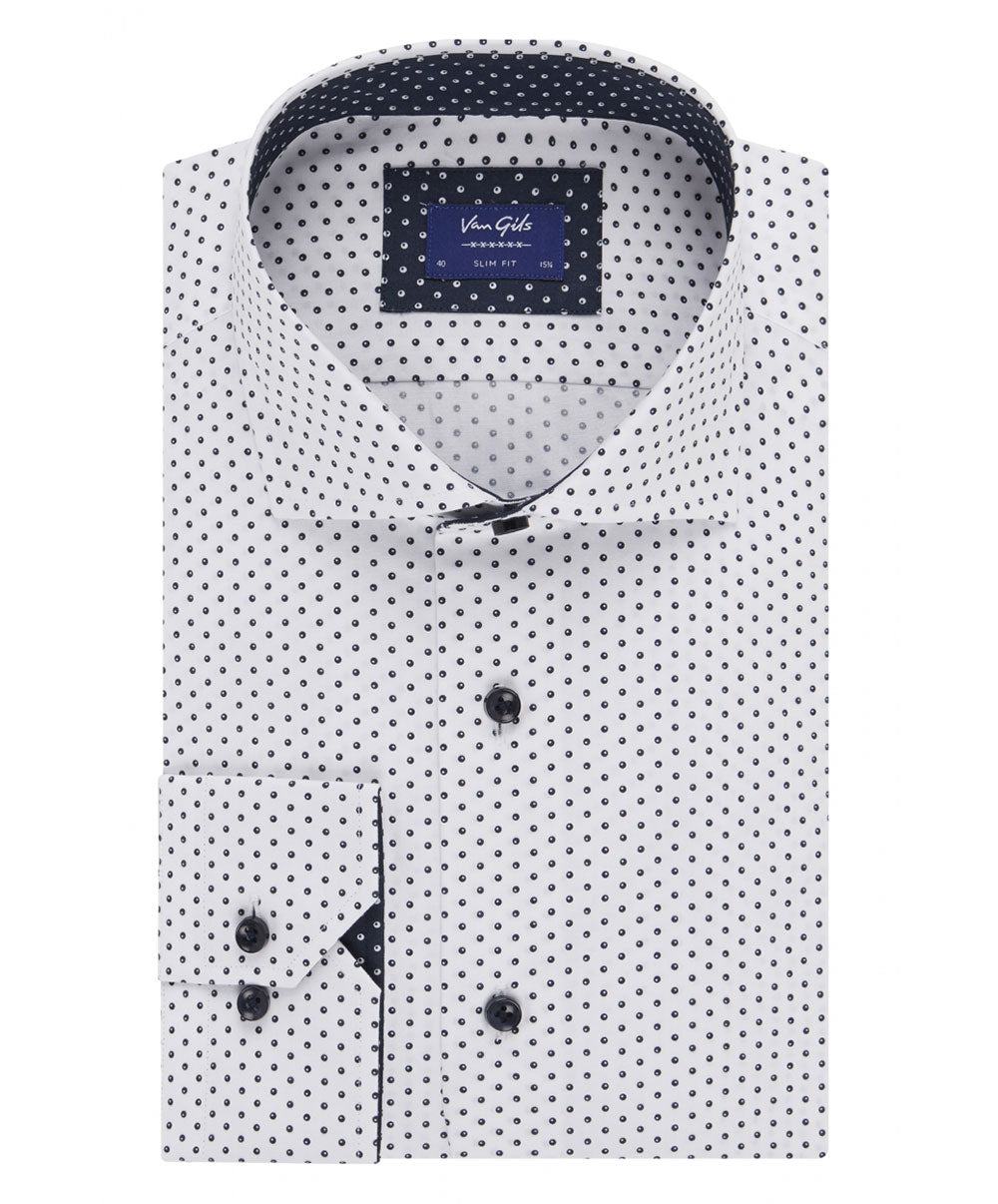 Edar White/Navy Mini Circle Print Shirt