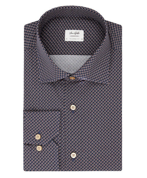 Ellington Navy/Wine Square Eye Print Shirt