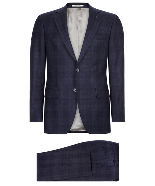 Ellis-Buck Ink Blue Tonal Plaid Suit