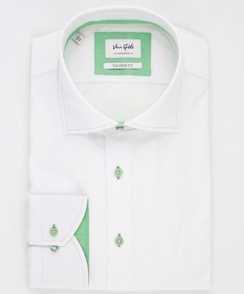 Ellington White/Apple Green Linen Look Sport Shirt