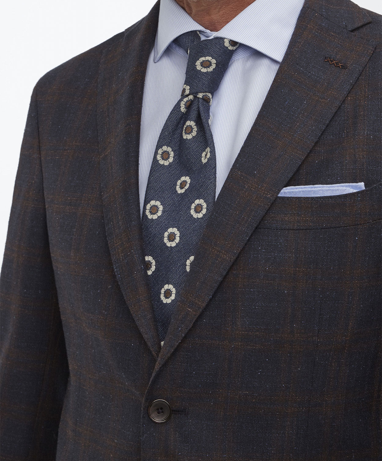 Elray Welt-Clay Navy/Cognac Blended Dark Check Suit