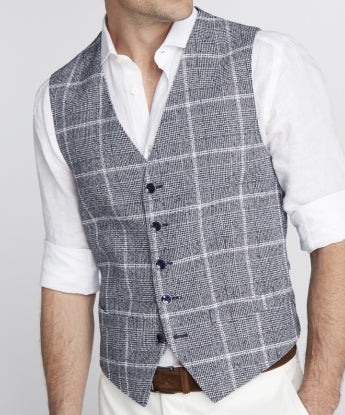 Elson Ink Blue Glen Check Vest