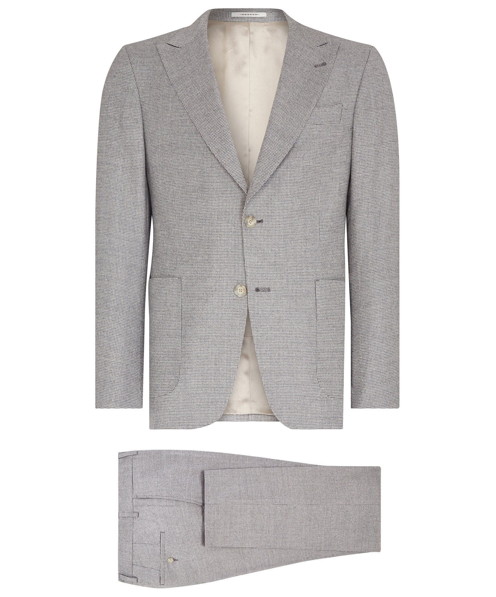 Elvren-Clay Silver Grey Milled Mini Houndstooth Suit