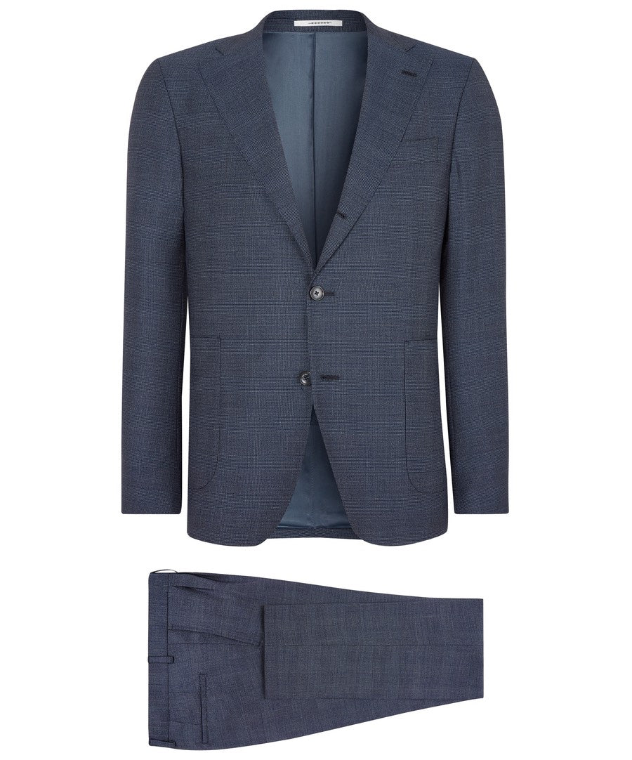 Elwyn Dark Navy Two Tone Sophisticated Glen Check Suit
