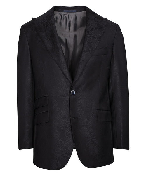 Ethan Carbon Black Tonal Woven Abstracted Floral Satine Jacket