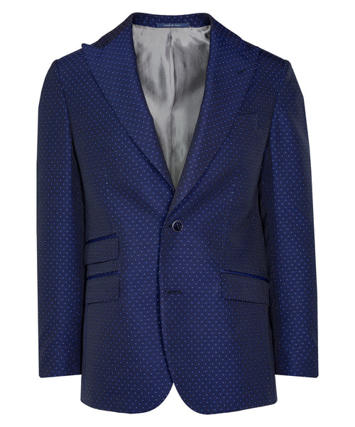Ethan Navy/Silver Fine Square Woven Dot Event Jacket