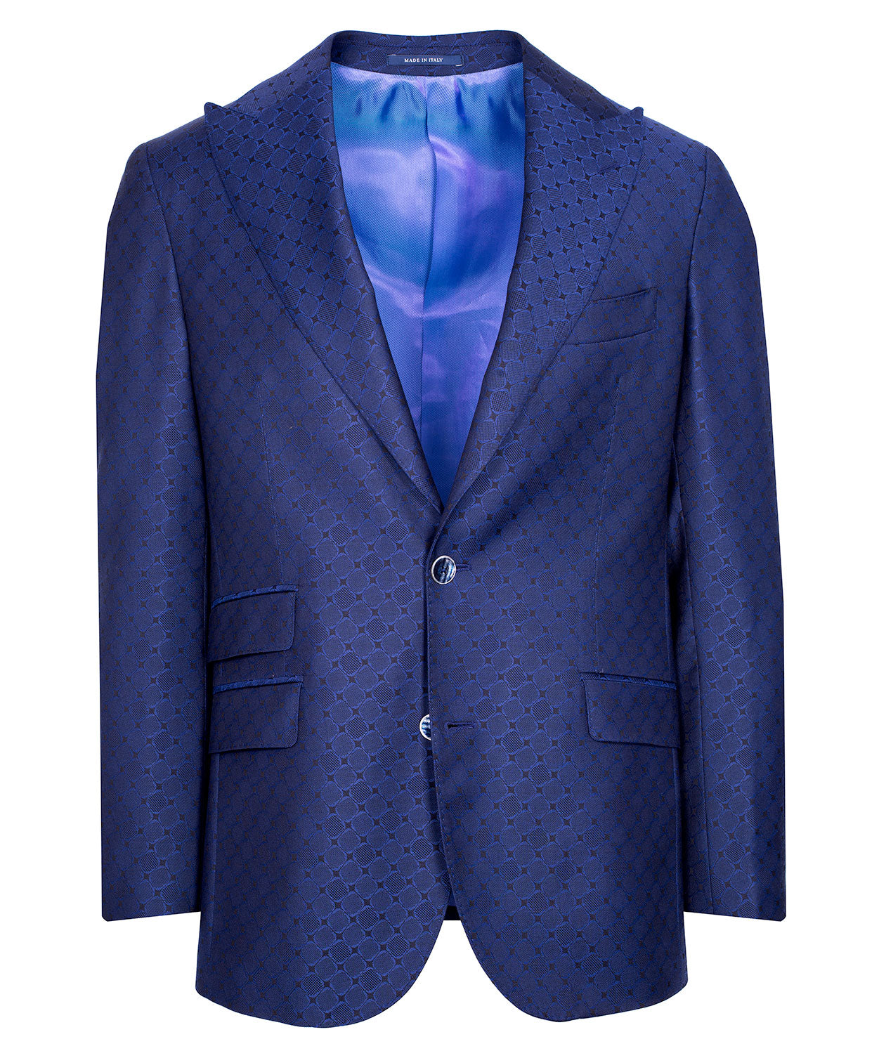 Ethan Royal Blue Tonal Woven Diamond Satine Event Jacket