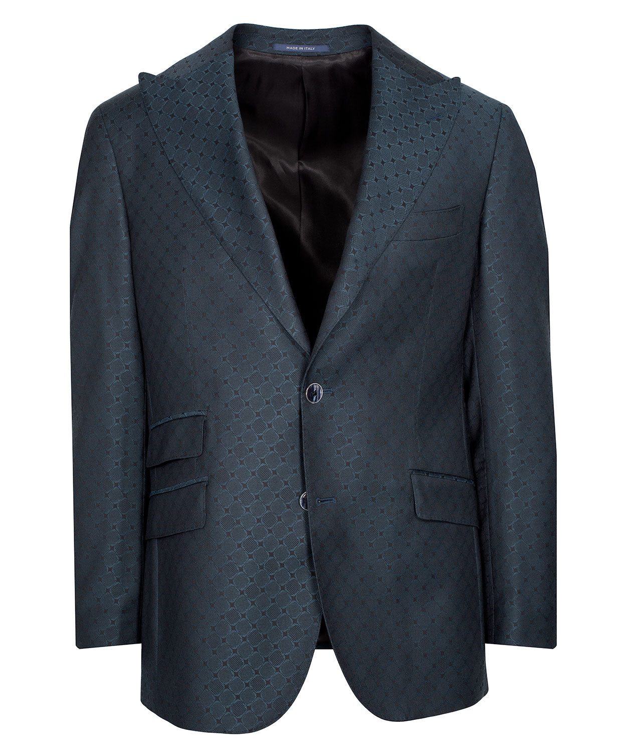 Ethan Bottle Green Tonal Woven Diamond Satine Jacket