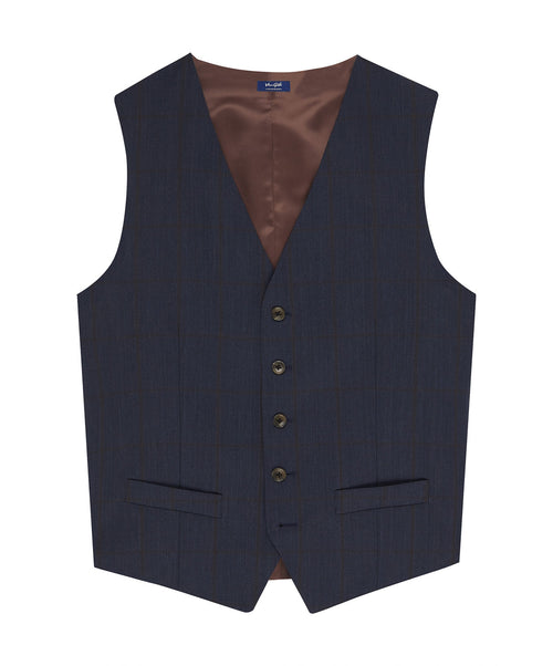 Evionson Split Char Blue/Cognac Wide Faded Chalk Stripe Separates Vest