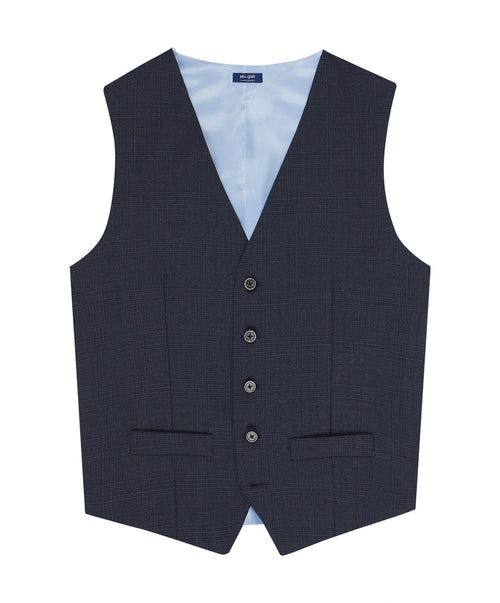 Evion Split Blue Tonal Glen Check Separates Vest