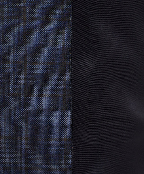 Evion Navy/Cobalt Blue Tonal Glen Check  Separate Vest
