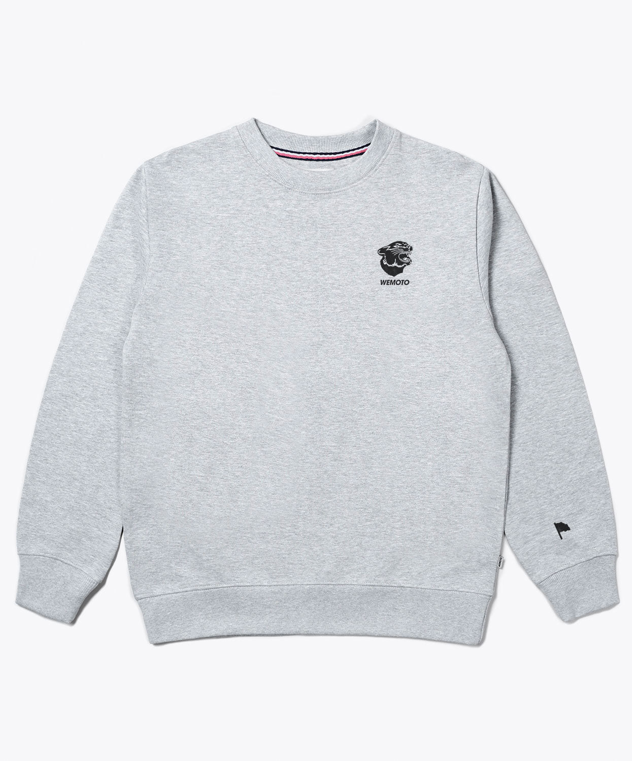 Gavin Crew Heather Grey Crew Neck With Chest Logo Sweater