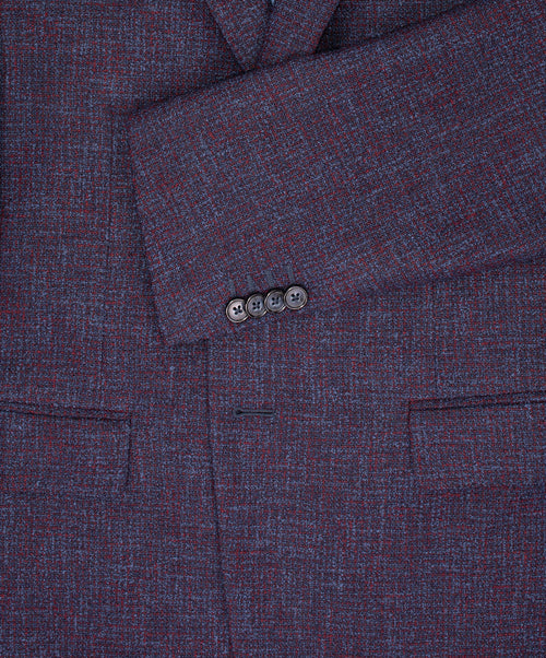 Bordeaux/Blue Light Boucle Effect Jacket