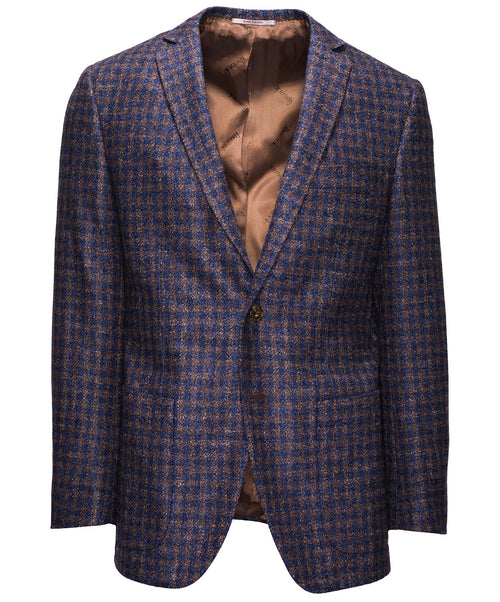 Ink/Cocoa/Cognac Sophisticated Soft Boucle Check Suit